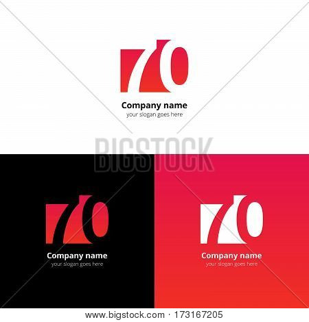 70 logo icon flat and vector design template. Monogram years numbers seven and zero. Logotype seventy with red-pink gradient color. Creative vision concept logo, elements, sign, symbol.