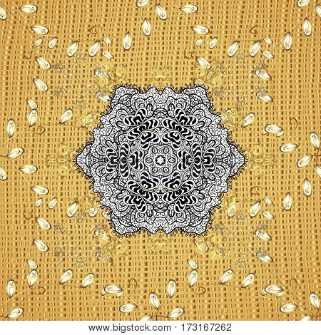 Antique golden repeatable sketch. Golden element on yellow background. Damask repeating background. Golden floral ornament in baroque style.