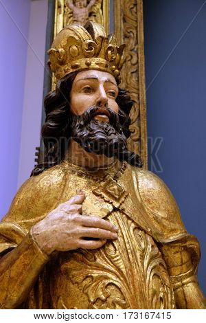 ZAGREB, CROATIA - JUNE 18: St. Ladislaus, a statue of the ancient altar of St. Ladislaus in Zagreb Cathedral, exhibited in the Museum of Arts and Crafts in Zagreb, on June 18, 2015.