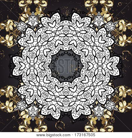 Damask classic white and golden pattern. Abstract background with repeating elements. Golden pattern on grey background with golden elements.