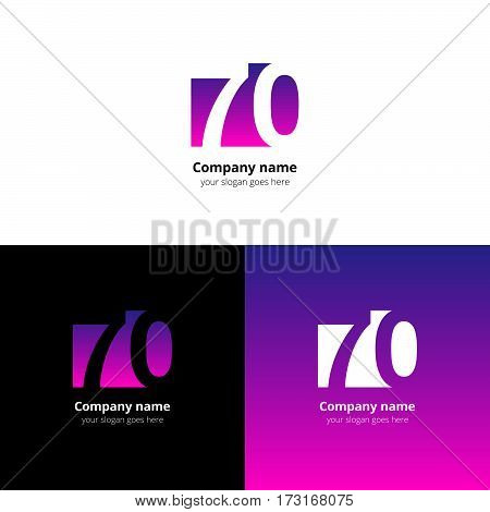 70 logo icon flat and vector design template. Monogram years numbers seven and zero. Logotype seventy with purple-pink gradient color. Creative vision concept logo, elements, sign, symbol.