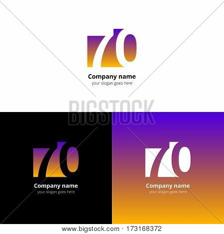 70 logo icon flat and vector design template. Monogram years numbers seven and zero. Logotype seventy with violet-yellow gradient color. Creative vision concept logo, elements, sign, symbol.