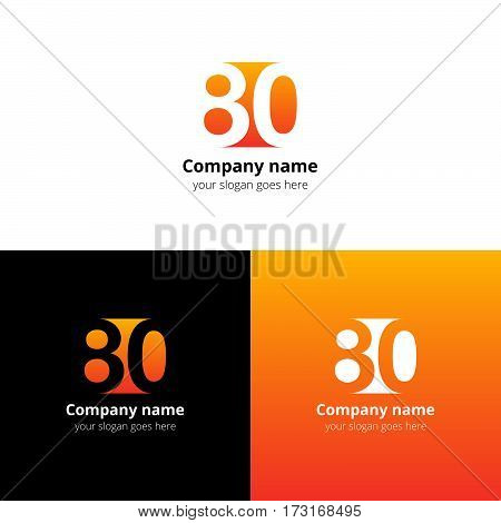80 logo icon flat and vector design template. Monogram years numbers eight and zero. Logotype eighty with orange gradient color. Creative vision concept logo, elements, sign, symbol.