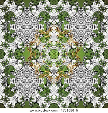 Seamless background. Circle flower mandalas seamless pattern in black white and green golden raster.