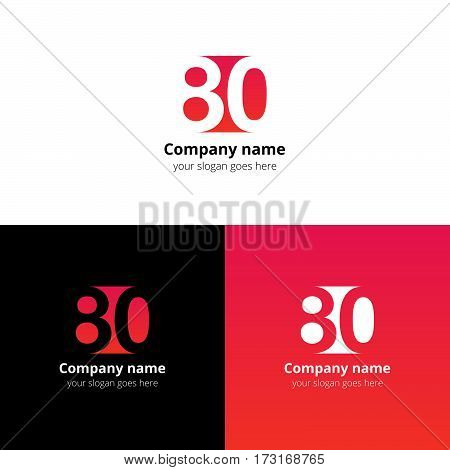 80 logo icon flat and vector design template. Monogram years numbers eight and zero. Logotype eighty with red-pink gradient color. Creative vision concept logo, elements, sign, symbol.