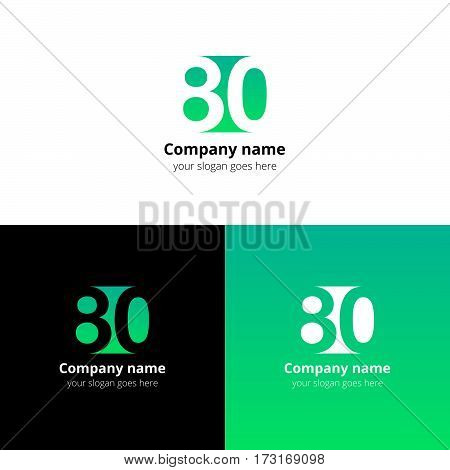 80 logo icon flat and vector design template. Monogram years numbers eight and zero. Logotype eighty with light green gradient color. Creative vision concept logo, elements, sign, symbol.