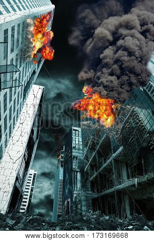 Detailed destruction of fictitious city with fires and explosion. Concept of war natural disasters judgement day fire nuclear accident or terrorism. Vertical orientation.