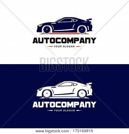Car Logo Vector Illustration. Auto Company logotype design concept with dark blue color sports car silhouette. High speed automobile illustration on black and white background.