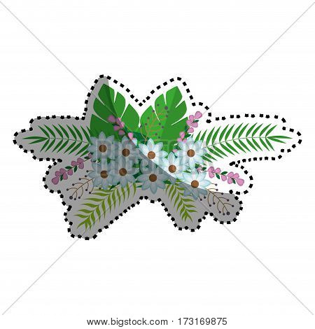 sticker flowers bunch floral design with leaves vector illustration