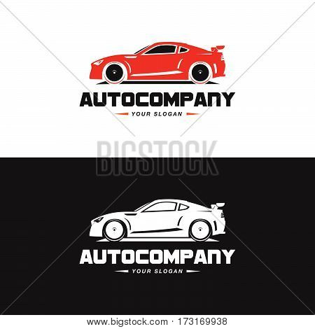 Car Logo Vector Illustration. Auto Company logotype design concept with red color sports car silhouette. High speed automobile illustration on black and white background.
