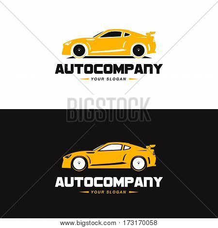 Car Logo Vector Illustration. Auto Company logotype design concept with yellow color sports car silhouette. High speed automobile illustration on black and white background.