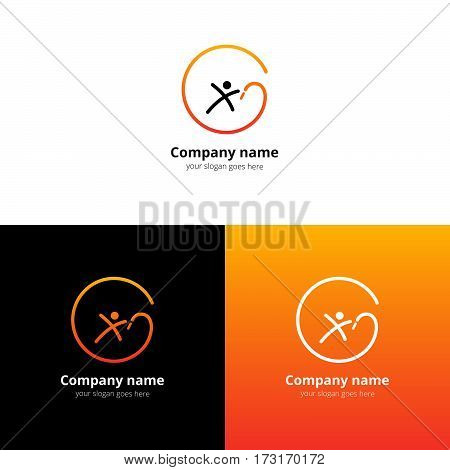Acrobatic gymnastics logo, icon. Logotype for sport or finiteness with trend orange-yellow gradient color design vector illustration. Design for Health & Beauty.