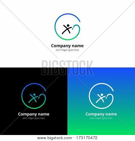 Gymnastics with ribbon vector logo with flat trend blue-green gradient design template Isolated on a white and black background. Logotype for sport or acrobatic company.