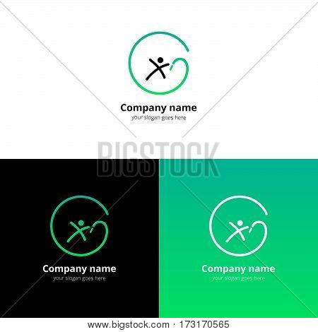 Gymnastics Logo. Sportsman gymnastics with ribbon vector logo with flat trend light green design template Isolated on a white and black background.