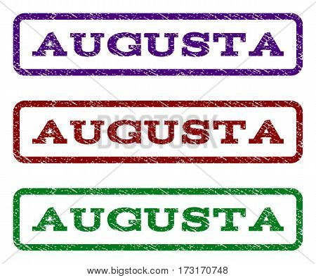 Augusta watermark stamp. Text caption inside rounded rectangle frame with grunge design style. Vector variants are indigo blue red green ink colors. Rubber seal stamp with scratched texture.
