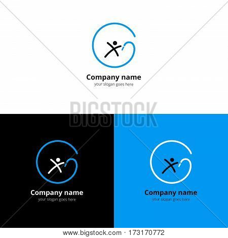 Gymnastics with ribbon vector logo with flat trend blue gradient design template Isolated on a white and black background. Logotype for sport or acrobatic company.