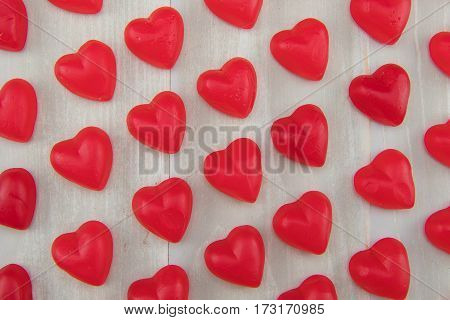 Angle Tight View Lines Of Gummy Hearts