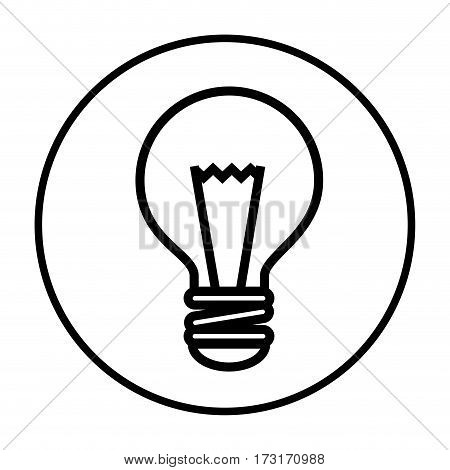 monochrome contour with circular frame with bulb light vector illustration