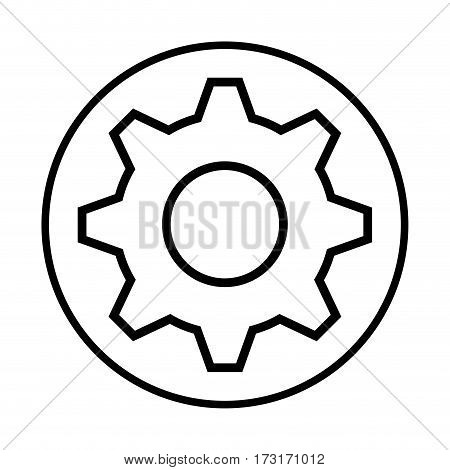 monochrome contour with circular frame with pinion vector illustration