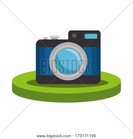 colorful silhouette with photographic camera over base