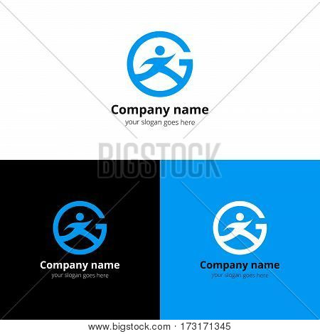 Sport logo, icon, emblem flat and vector design template. Trend light blue color on white and black background. Symbol sport with letter G vector elements.