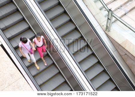 Modern urban outdoor escalator