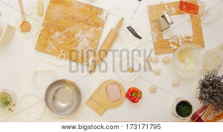Cooking ingredients on a table mess. Kitchen