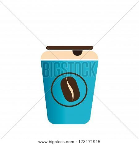 color silhouette with disposable cup of cappuccino vector illustration