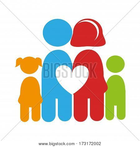 color pictogram with family and heart among them vector illustration