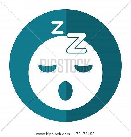 sleepy emoticon funny shadow vector illustration eps 10