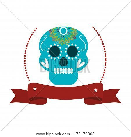 decorative ornamental sugar skull with ribbon vector illustration