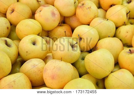 Greengrocer and Sale of green apples ,yellow apples,pictures