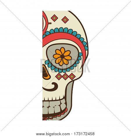 half piece decorative ornamental sugar skull vector illustration