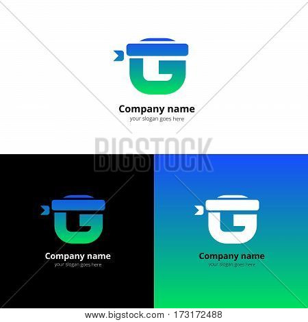 Letter G logo icon with a sport bandage and vector flat design template. Trend blue-green gradient color on white and black background. Symbol Sport G in vector elements..