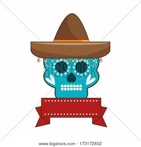 decorative ornamental sugar skull with ribbon an mexican hat vector illustration