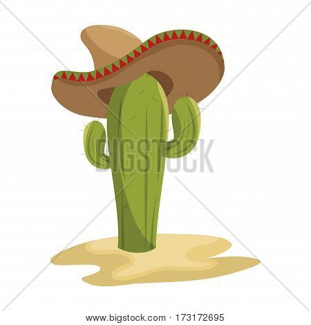 animated sketch cactus with mexican hat in desert vector illustration