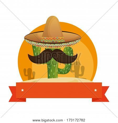 colorful background with animated sketch cactus with mexican hat and ribbon vector illustration