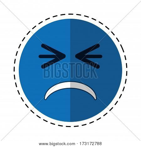 cartoon unhappy face emoticon funny vector illustration eps 10