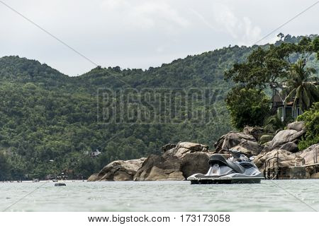 Sea water view on jet ski in beach bay island Koh Phangan thailand ocean jetski
