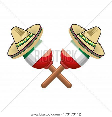pair mexican maraca instrument with traditional hat vector illustration