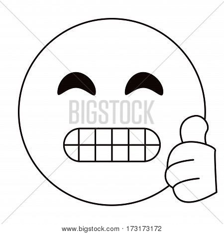 grimacing face emoticon funny thin line vector illustration eps 10