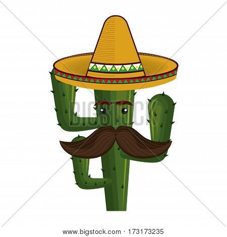 animated cartoon cactus with mexican hat and moustache vector illustration
