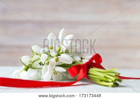 Snowdrops Bouquet With Red Ribbon For A Romantic Present