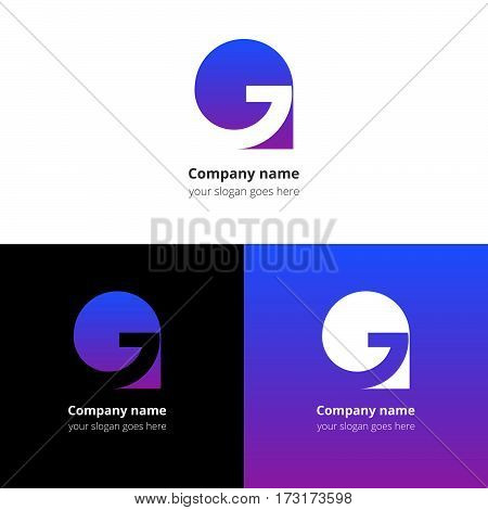 Letter G logo icon flat and vector design template. Trend blue-violet gradient color on white and black background. Symbol G in vector elements..