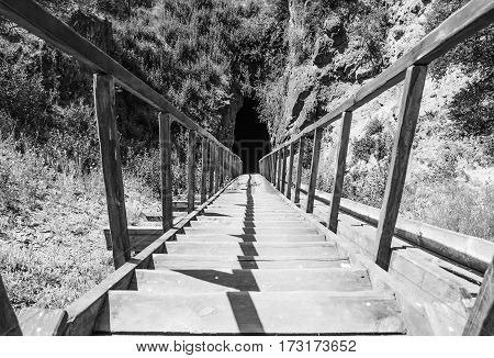 Long staircase that leads to the cave