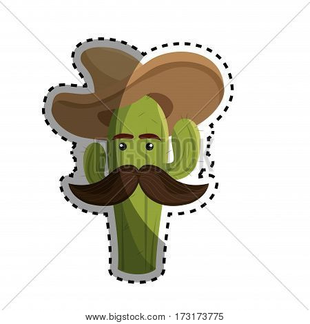 sticker animated sketch cactus with mexican hat and moustache vector illustration