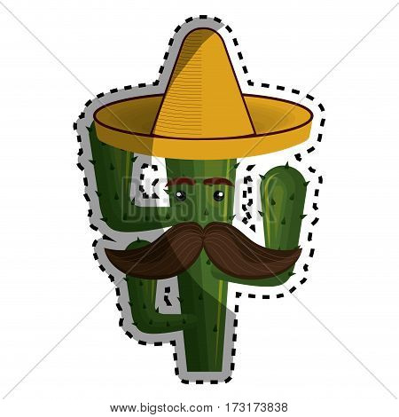 sticker animated cartoon cactus with mexican hat and moustache vector illustration