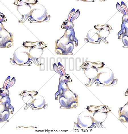 Background with cute love cartoon rabbits. Watercolor seamless pattern
