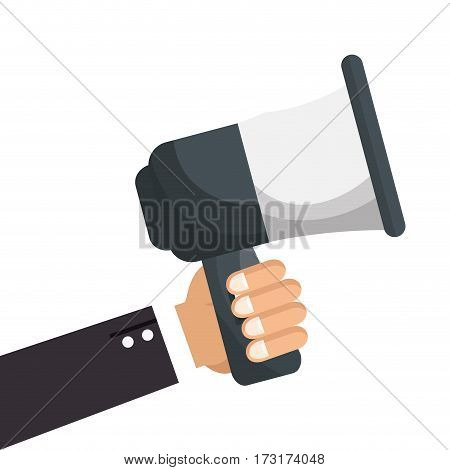 executive hand holding megaphone icon vector illustration