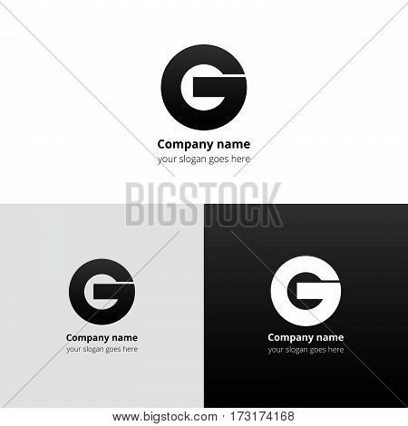 Letter G logo icon flat and vector design template. Trend black gradient color on white and black background. Bold symbol G.